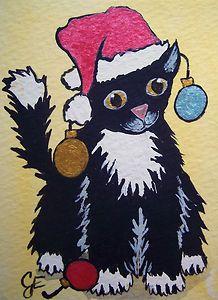 """Ornament Kitty"" Original Painting Artist Trading Card Julie Ellison Artist"