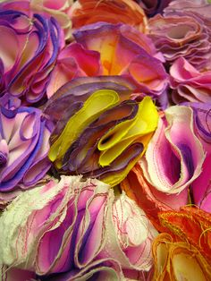The reason why I chose this image was because it is a close of textile manipulation with ripping and dyes. Having a bit of a fabric pom obsession of late - winter tweeds, but I think this could be the start of something from spring! Textile Texture, Textile Fiber Art, Textile Fabrics, Fabric Textures, Textures Patterns, Fabric Art, Fabric Design, Techniques Textiles, Textile Manipulation