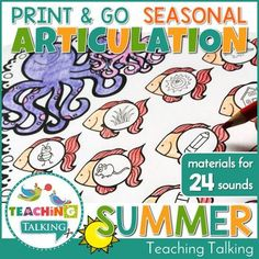 Summer Speech Therapy Activities Value Bundle - Use this 300+ page resource with your preschool, Kindergarten, 1st, or 2nd grade students. It's great to practice vocabulary and speech therapy in the summer months - June, July, and August. You get a vocabulary pack, vocab activities, craftivity with print & go activities, summer decor pack, and binder covers & spines. Grab it now! {preK, K, first, second graders} Teaching Vocabulary, Teaching Grammar, Teaching Kindergarten, Teaching Ideas, Articulation Activities, Speech Therapy Activities, Language Activities, Speech Language Pathology, Speech And Language