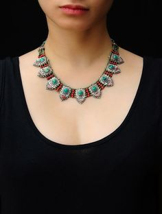 Coral-Turquoise Tibetan Necklace