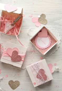 message in a box...packaging, glittered edge mini bunting