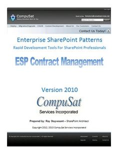 ESP Contract Management Developer [Download] -   A component of CompuSat?s ?Enterprise SharePoint Patterns? collection. Data for the Lite version data resides entirely in SharePoint as list data. Data for the Enterprise version resides in an external SQL Server database. Library and list templates are also deployed as SharePoint solutions,... - http://softwaredownloaddeals.com/esp-contract-management-developer-download/ - http://softwaredownloaddeals.com/wp-content/uploads/20