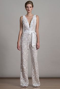 Modern wedding dress idea - lace jumpsuit for bride with deep v-neckline and bow detail. Style 6875 by Find more wedding dress inspiration by on Pretty Wedding Dresses, Wedding Dresses Photos, Wedding Dress Trends, Perfect Wedding Dress, 50s Style Wedding Dress, After Wedding Dress, Bridal Gowns, Wedding Gowns, 2017 Bridal