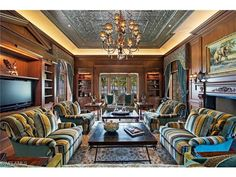 3100 Gordon Drive, Naples, FL 34102 | very luxurious and comfortable den with Gulf of Mexico views.  Naples most expensive home listing to date in Port Royal