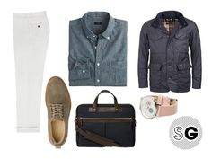 It's easy to use navy as a neutral, but show off it's particularly nice shade of blue by pairing your field jacket with white pants and a chambray shirt.