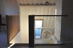 Studio Vabø - Staircase design - Møllegata  Skylight Staircase Design, Skylight, Kingston, Ceiling Lights, Lighting, Architecture, Home Decor, Arquitetura, Decoration Home