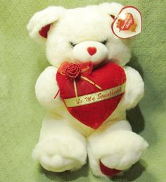 """1998 SWEETHEART TEDDY Bear White with Red Heart Gold Writing """"be My Sweetheart"""" #TBTradingCompany"""