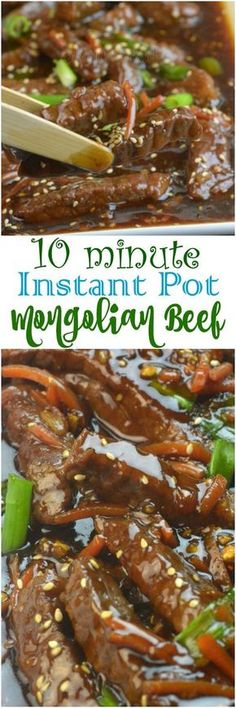 Instant Pot Mongolian Beef. 1.Saute, 2. Ten minutes manual, 3. Quick release