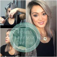 Masks for Womens : How To Layer Your Own Hair Cut Own Hair, How To Cut Your Own Hair, Make Up, Diy Haircut, Long Bob Haircuts, Diy Face Mask, Face Masks, Medium Hair Cuts, Layered Hair