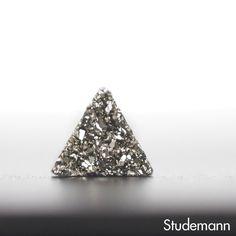 Futuristic Silver Triangle Druzy Ear Studs 8mm  by Studemann