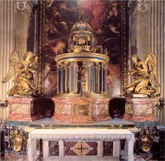 Altar of the Cappella del Sacramento - Gian Lorenzo Bernini Baroque Sculpture, Angel Sculpture, Basilica San Pedro, Gian Lorenzo Bernini, Italian Baroque, Italy Painting, Historical Art, Art Database, Italian Artist