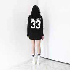 """[Life Dress: Black] A mini dress featuring a """"G4LIFE"""" and """"ACDFLOWER 33"""" graphic. Round neckline. Long sleeves. Also can be worn as loose fit, long length top. Casual and Hipster style."""