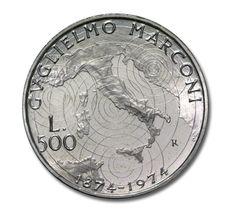 500 Lire d'argento 1974. Guglielmo Marconi