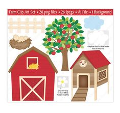 This high quality adorable Farm Animals Clip Art set is great for all your craft projects. These images are perfect for creating your own greeting cards, party invitations, Accessories, gift tags, childrens craft projects, nursery/kids prints, stickers, scrapbooking and lots more.