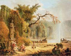 Scene in a romantic garden by Hubert Robert (1733-1808)  www.artexperiencenyc.com