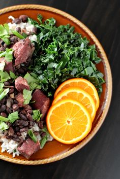 Brazilian Black Bean Stew - Feijoada.  Had this in Florianopolis and it was delicious!  So much more exciting than just a boring old side of black beans and rice.