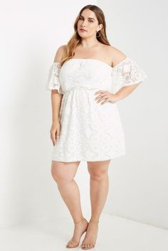 Malgo White Off the Shoulder Dress Plus Size