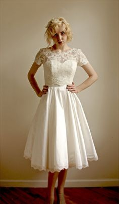This Classic Tea-Length Lace Set | 36 Ultra-Glamorous Two-Piece Wedding Dresses