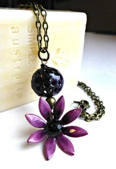Purple enameled flower with bead and stone, chain , necklace, jewelry, hand made jewellery, purple flower necklace.