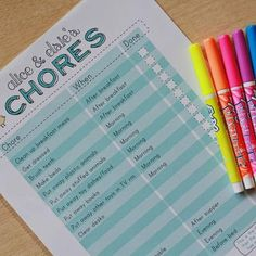 Printable Chore Chart {For The Kids}