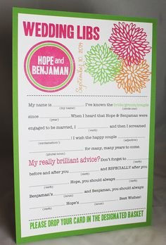 GAME: Wedding Mad Libs PDF FILE Print Yourself Bold Mums Colors are Customizable Digital File $22