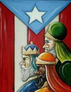 Christmas Deco, Christmas Photos, Christmas Crafts, Christmas In Puerto Rico, Puerto Rican Flag, Three Wise Men, O Holy Night, Cardboard Art, Christmas Paintings