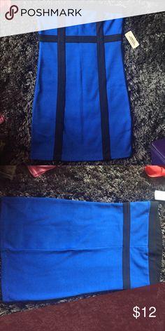 Forever 21 strapless blue dress Forever 21 new tight strapless dress blue with black accents. Forever 21 Dresses Strapless