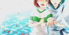 Spirited Away- Chihiro and Haku with pink flowers Spirited Away Japanese, Spirited Away Haku, Hayao Miyazaki, Noragami, Film Animation Japonais, Tokyo Ghoul, Chihiro Y Haku, Kohaku, Studio Ghibli Movies