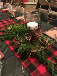 Simple Beautiful Christmas Centerpieces Ideas 130207 - Gifts and Costume Ideas for 2020 , Christmas Celebration Plaid Christmas, Rustic Christmas, Winter Christmas, Christmas Home, Christmas Ideas, Christmas Movies, Cabin Christmas Decor, Woodland Christmas, Diy Projects For Christmas