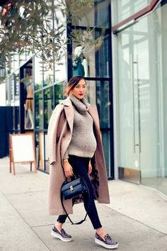 Gorgeous winter maternity bump style with a powder pink coat, comfy cowl neck and stylish flats