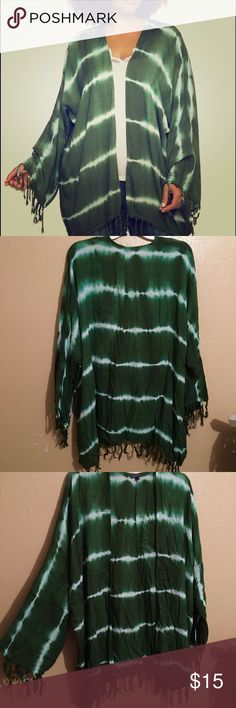 Cardigan/Cover-up🌸 This is very versatile. Can be worn with tank and jeans or over a cute swimsuit. Very lightweight. Cute tie dye design with fringe detail on bottom and sleeves. This is a size (2X) but can also fit a (1X) comfortably. Never worn, straight out plastic. BUNDLE TO SAVE ‼️ Charlotte Russe Tops