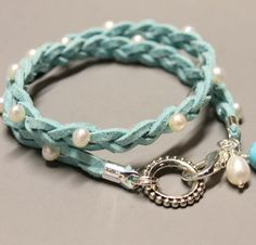 DOUBLE  Suede Wrap Bracelet - Braided Sky Blue - Freshwater Pearls - Turquoise and pearl Dangles - Silver Clasp  - Instant Shipping - Ref 22. $12.99, via Etsy.