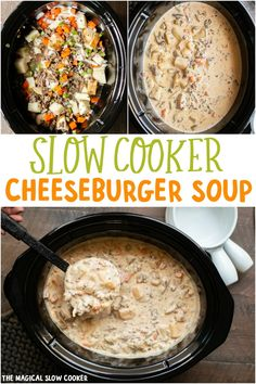 Slow Cooker Cheeseburger Soup is thick and creamy! Great for a fall night. - The Magical Slow Cooker Ultra creamy cheeseburger soup made in the crock pot! Everyone will beg you for this recipe! Crock Pot Soup, Slow Cooker Soup, Slow Cooker Recipes, Gourmet Recipes, Soup Recipes, Cooking Recipes, Crockpot Meals, Recipies, Freezer Meals
