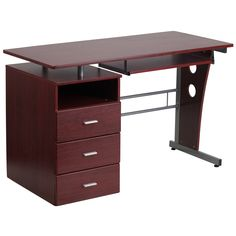 This three-drawer desk is modern and has a surprising amount of storage for a small piece. Its rich finish will elevate the look of your business setting and you will find its amenities helpful for organizing.