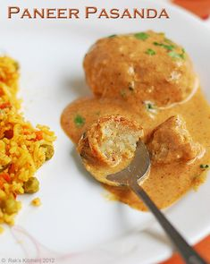 Paneer Pasanda- tender paneer cutlets in cashew gravy. Looked up what maida from the ingredient list is- a fine wheat flour. Vegetarian Appetizers, Vegetarian Recipes, Healthy Recipes, Veggie Recipes, Cheese Recipes, Gourmet Recipes, Cooking Recipes, Paneer Recipes, Indian Food Recipes