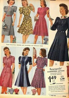 1940s fashion for ladies day dress black white blue grey red yellow gold pink print ad knee length button front shirt belt bow tie puff sleeves