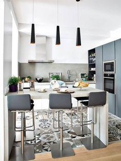 Cuisine salle à manger, scandinave, 3D, grande horloge, tapis noir ...