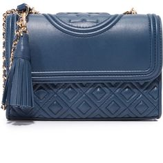 Tory Burch Fleming Small Convertible Shoulder Bag ($460) ❤ liked on Polyvore featuring bags, handbags, shoulder bags, royal navy, navy blue handbags, navy leather purse, chain shoulder bag, leather handbags and navy blue shoulder bag