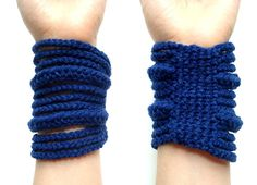 Nautical Navy  crocheted rib cage cuff  winter by dslookkin, $48.00