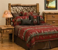 The Yellowstone bedspread combines rich shades of reds and turquoise colors with southwestern geometric shapes that give this popular bedspread its unique look. Description from search.cabinplace.com. I searched for this on bing.com/images