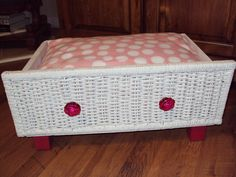 PET BED Dog Cat Diva Bed  Upcycled Wicker pampered pets Upcycled Comfy Shabby Chic. $50.00, via Etsy.