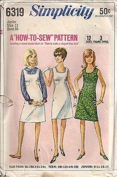 Vtg 60's A Line Dress Jumper Blouse Pattern Jr Sz 13 Bust 33 Simplicity 6319 | eBay