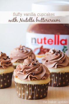 Fluffy vanilla cupcakes with Nutella buttercream from The Baker Upstairs. The perfect sweet and light vanilla cupcake, topped with a heavenly whipped Nutella buttercream. Seriously amazing! www.thebakerupstairs.com