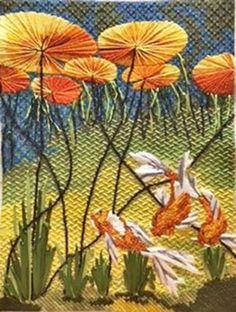 Julie Mar Needlepoint Designs - floral and landscape hand painted artist original needle point canvases. Needlepoint Designs, Needlepoint Stitches, Needlepoint Canvases, Embroidery Stitches, Hand Embroidery, Needlework, Fish Design, Stitch Design, Goldfish