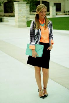 Stripe blazer with pops of mint and orange. Spring professional.