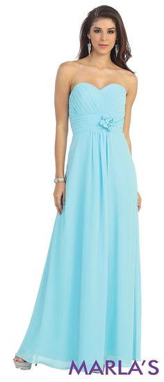 Gathered Waist Sweetheart Gown - Marla's Fashions - 4