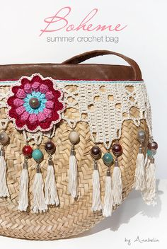 Bohemian style crochet summer bag - Anabelia Craft Design #crochet #summerbag #bohemian style