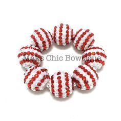 TODDLER Red and White Striped All Bling Chunky bracelet, Holiday bracelet, Flower girl bracelet, Christmas bracelet, Candy cane bracelet