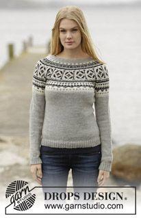 """Strikket DROPS bluse i """"Alpaca"""" med nordisk mønster og rundt bærestykke. Str S - XXXL. ~ DROPS Design"""