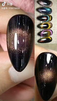 Creative Cat Eyes Nail Art Design - Pretty Nails - Best Nail World Nail Art Designs Videos, Nail Art Videos, Diy Nails, Glitter Nails, Gradient Nails, Acrylic Nails, Stylish Nails, Trendy Nails, Cat Eye Nails Polish